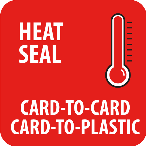 Heat sealing card to card and card to plastic