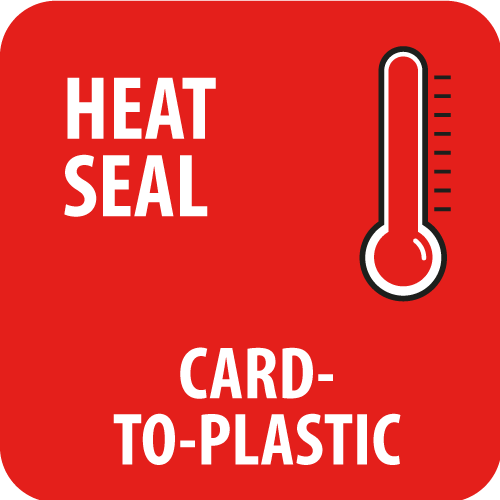 Heat sealing card to plastic